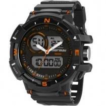 Relógio masculino mormaii acqua pro anadigito preto, pulseira de poliuretano mo9789/8l -