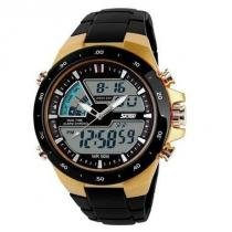 Relógio Masculino Skmei Anadigi  1016 Dourado -