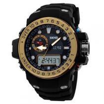 c48eb39e86f Relógio Masculino Skmei Anadigi 1063 Preto e Dourado -
