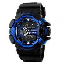 Relógio Masculino Skmei Anadigi 1117 Preto e Azul -
