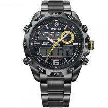 Relógio Masculino Weide Anadigi WH-3403 Preto e Amarelo -