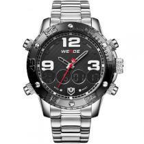 Relógio Masculino Weide Anadigi WH-3405 Prata e Preto -