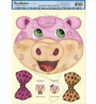 Relógio MDF Decoupage Porquinho DMA1-006 - Litoarte - Litoarte