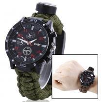 Relógio Tático Sobrevivência Paracord Pederneira Bussola 5x1 - Wei tus