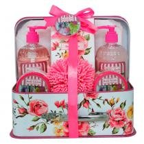 Rosas  Baunilha Beauty Ninta - Kit Sabonete Líquido + Espuma de Banho + Loção Hidratante + Esfoliante Corporal - Beauty Ninta