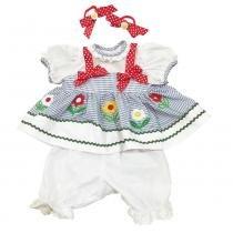 Roupa para Bonecas - Adora Doll - Vestido Azul e Branco com Flores - Shiny Toys - Shiny Toys