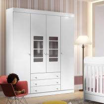 Roupeiro para Quarto de Bebê 4 Portas Branco Brilho e Vidro Branco - Multimóveis - CasaTema