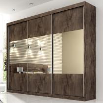 Roupeiro Prada Gold Glass 3 portas - Café/Café + Branco - Branco - Panan