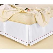 Saia Box para Cama Solteiro Padrão Soutache Tecido Misto - Branco/Vermelho - Familie