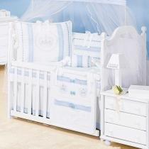 Saia de Berço Imperial Azul 200 Fios - Batistela Baby - Batistela