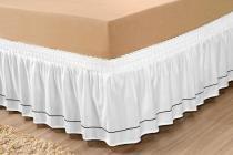 Saia Para Cama Box Queen Microfibra Pratic Com Detalhe Sutache Branco - Enxovais ibitinga