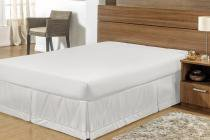 Saia para Cama Box Queen Size Branco Tecido Microfibra - Guga tapetes