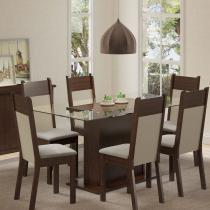 Sala de Jantar Atlanta + 6 Cadeiras Tabaco/Crema/Suede Perola - Madesa - Marrom - Madesa