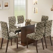 Sala de Jantar Karla + 6 Cadeiras Tabaco/Tecido Floral - Madesa - Marrom - Madesa