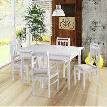 Sala de jantar kingston mesa 120cm e 4 cadeiras - acabamento laca pu - madeira maciça - branco - Casatema