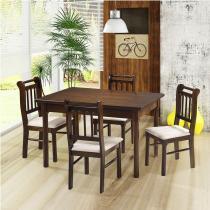 Sala de jantar kingston mesa 120cm e 4 cadeiras - acabamento verniz pu - madeira maciça - castanho - Casatema