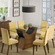 Sala de Jantar Malte + 6 Cadeiras Rústico/Preto/Palha - Madesa - Marrom - Madesa