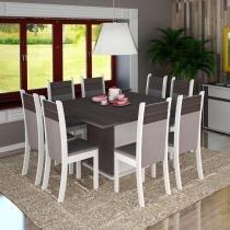 Sala de Jantar Mesa com 8 Cadeiras Naomi - Pintura Poliéster Maior Resistência - Branco/Carvalho - Madesa
