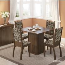 Sala de Jantar Mesa e 4 Cadeiras Madesa Joyce Rustic/Tecido Floral - Madesa