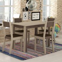 Sala de Jantar Mesa e 4 Cadeiras Madesa Smart Crema/Amêndoa - Madesa