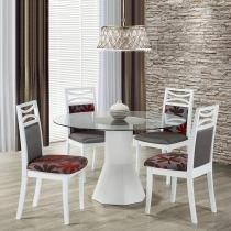Sala de Jantar Modello Mesa Redonda e 4 Cadeiras - Design Italiano - MDF/Lâmina de Jequitibá Branco - Seiva