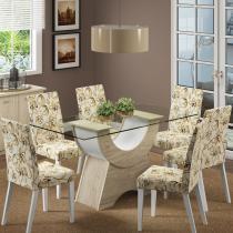 Sala de Jantar Sinuosa + 6 Cadeiras Acacia/Branco/Lirio Bege - Madesa - Marrom - Madesa