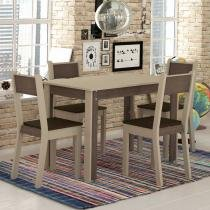 Sala de Jantar Smart + 4 Cadeiras Crema/Amêndoa - Madesa - Marrom - Madesa