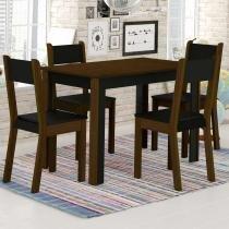 Sala de Jantar Smart + 4 Cadeiras Imbuia/Preto - Madesa - Marrom - Madesa
