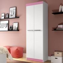Sapateira 02 Portas Rp8020 Branco/Branco/Rosa - Decibal