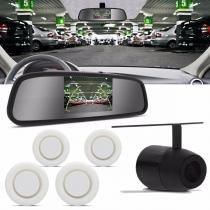 Sensor de Estacionamento 4 Pontos Branco Com Câmera de Ré e Retrovisor Display LCD 4,3 Universal - Tech one