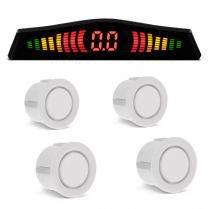 Sensor de Estacionamento 4 Pontos Branco Com Display de Led Colorido Meia Lua Universal - Tech one