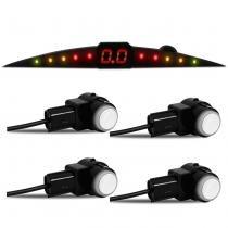 Sensor de Estacionamento 4 Pontos Branco Display Colorido Meia Lua Slim Acabamento Original - Prime