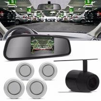 Sensor de Estacionamento 4 Pontos Prata Retrovisor Display LCD 4,3 e Câmera de Ré Universal - Prime