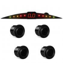 Sensor de Estacionamento 4 Pontos Preto Brilhante Com Display Led Colorido Meia Lua Slim Universal - Tech one
