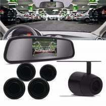 Sensor de Estacionamento 4 Pontos Preto Com Câmera de Ré e Retrovisor Display LCD 4,3 Universal - Prime