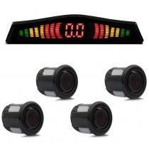 Sensor de Estacionamento 4 Pontos Preto Com Display Led Colorido Meia Lua Slim Universal - Prime