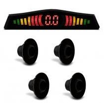 Sensor de Estacionamento 4 Pontos Preto Fosco Com Display de Led Colorido Meia Lua Universal - Prime