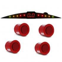 Sensor de Estacionamento 4 Pontos Vermelho Fosco Com Display de Led Colorido Meia Lua Slim Universal - Tech one