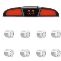 Sensor de Estacionamento 8 Pontos Prata Com Display de Led Colorido Meia Lua Universal - Prime