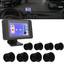 Sensor de Estacionamento 8 Pontos Preto Com Tela LCD 3,5 Colorido Universal - Prime