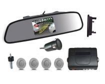 Sensor de Ré com Retrovisor e câmera 4 Pontos Prata - Xtune