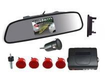 Sensor de Ré com Retrovisor e câmera 4 Pontos - Vermelho - Xtune