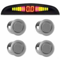 Sensor de Ré Estacionamento Universal 4 Pontos Display Led 18mm Prata - Conforme estoque disponível