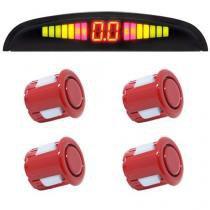 Sensor de Ré Estacionamento Universal 4 Pontos Display Led 18mm Vermelho - Conforme estoque disponível