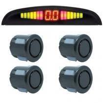 Sensor de Ré Estacionamento Universal 4 Pontos Display Led Preto Brilhante - Conforme estoque disponível