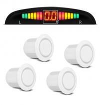 Sensor Estacionamento Ré 4 Sensores Display Led e Sinal Sonoro - Branco - Cinoy