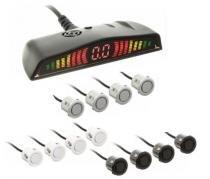 Sensor Estacionamento Ré 4 Sensores Prata Univ Display Led - Overvision