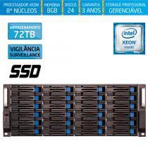 Servidor-Storage Silix X1200H24 V6 Intel Xeon V6 3.5 Ghz / 8GB / SSD / 72TB Vigilância / RAID -