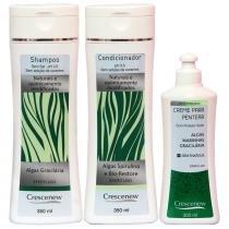 Shampoo, condicionador e creme de pentear sem enxague algas gracilárias - Crescenew