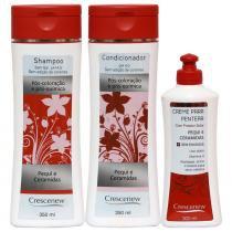 Shampoo, condicionador e creme de pentear sem enxague de pequi cabelos tintos - Crescenew